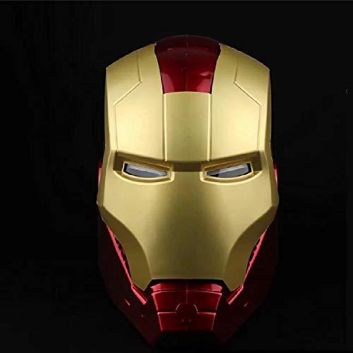 QWEASZER Iron Man Helm Maske Leuchtend, Marvel Avengers Kunststoff Vollmasken Helme Halloween Film Cosplay Kostüm Requisiten,Iron Man Helmet Mask-<55cm