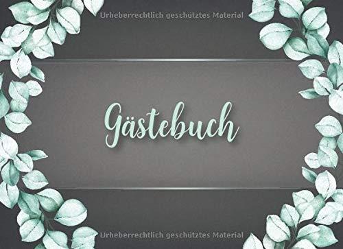 Gästebuch: Elegantes Eukalyptus Hochzeits Gästebuch für unsere Hochzeit mit Fragen und Einleitungstext in Aquarell Design