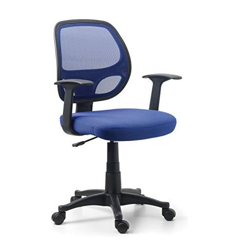 OFICHAIRS | Silla One | Silla de Escritorio | Silla de Ordenador de Oficina | Silla Juvenil | Respaldo Transpirable de Malla | Mecanismo Basculante | Color Azul