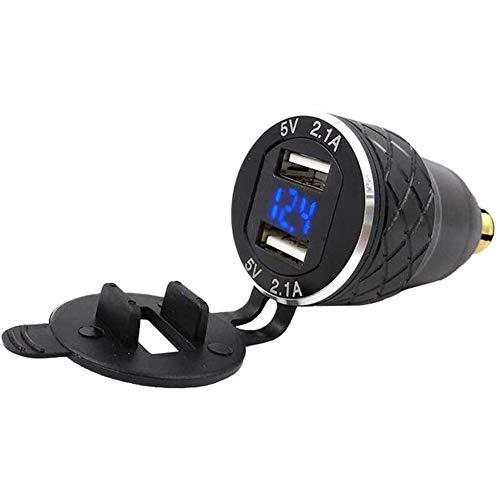 USB adapter Des double 5V 2.1A, aluminium legering motorfiets Euro Pisches Usbladegert Din connector plug socket stekker voltmeter