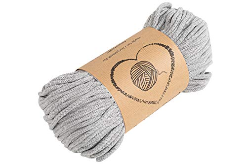 Baumwollkordel Kordel Baumwolle hellgrau makramee garn 5mm - Baumwollgarn baumwollschnur baumwollseil kordelband mit Polyester-Kern 50M farbig