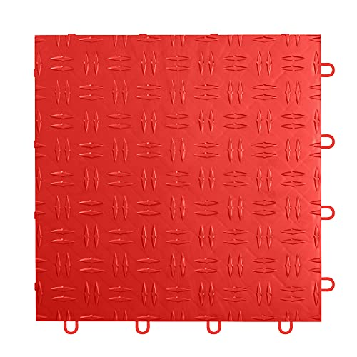 IncStores 1/2 Inch Thick Grid-Loc Interlocking Garage Floor Tiles | Plastic Flooring for a Stronger and Safer Garage, Workshop, Shed, or Trailer | Diamond-Top, Victory Red, 12 Pack