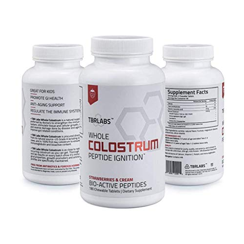 TBR Labs Colostrum (180 Chewable Tablets - 225 mg) Supports Immune System, Gut Health, Promotes Healthy Skin, Hair and Nails (Strawberries & Cream)