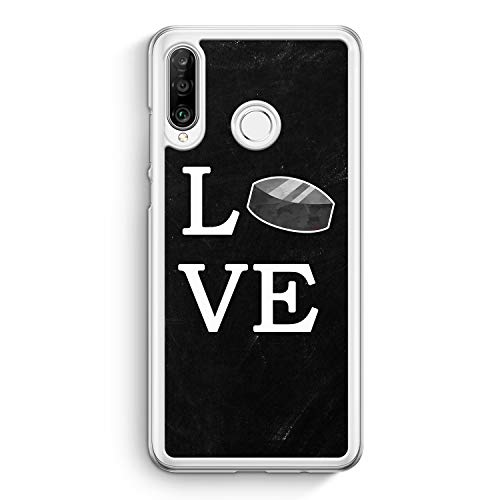 Love Hockey - Hülle für Huawei P30 Lite - Motiv Design Sport - Cover Hardcase Handyhülle Schutzhülle Case Schale