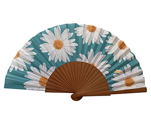 Tusitala Barcelona - Abanico Marga con diseño exclusivo - Abanicos originales de madera y algodón - Abanicos españoles - Colección Flowers - Tela flores