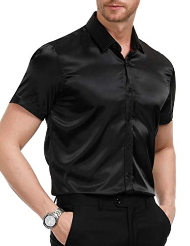 PJ PAUL JONES Men's Satin Shirt Short Sleeve Slim Fit Shirts for Prom Size S Black