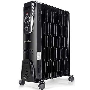 Taylor Swoden Sunny - Radiador de aceite de 11 elementos, 2500W, 3 ajustes de potencia, termostato, bajo consumo. Diseño ondulado que mejora la producción y circulación del calor. Color negro.