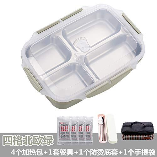 MjxdsbStainless stalen zelfverwarmende lunchbox, vier roostergroen, verwarmingspakket, servies, antiscalding bodembedekking, isolatiepakket