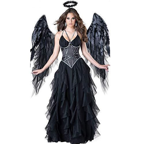 Ilyssm Halloween Damen Kleid-Vampir Umhang, mittelalterliche Teufel Kostüm Cosplay, Fallen Angel Gothic Kleid für Frauen, kleine Mädchen, Halloween, Ostern Up Party Geschenk (mit Flügeln),L