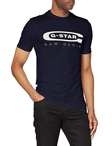 G-STAR RAW Graphic Logo 4 Camiseta, Azul, Medium (Talla del fabricante:) para Hombre