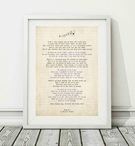 """Póster de Didymus Co Michael Buble con texto en inglés """"Hold On"""", sin marco, tamaño A4 (29,7 x 21 cm) y A3 (42 x 29,7 cm) (A4 enmarcado con soporte, color blanco)"""