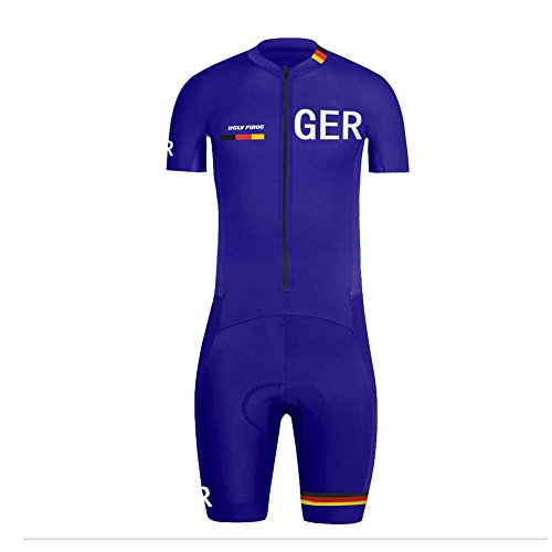BurningBikewear Uglyfrog Skinsuit del Verano Transpirable Manga Corto Ciclismo Ropa Hombres Bodies con Gel Pad National Flag Sportswear Triatlón Maillots Sets Germany LTFZ01