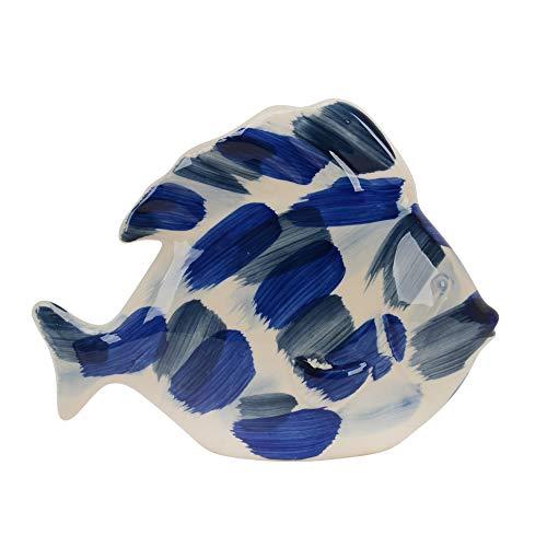 Sagebrook Home 13733-15 Keramik-Fisch, 20,3 cm, Blau gebürstet, 24,1 x 10,2 x 20,3 cm, Mehrfarbig