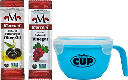 Marconi Organic Extra Virgin Olive Oil and Balsamic Vinegar Packets 25 of Each with By The Cup Salad Bowl
