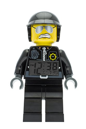 Despertador con luz Infantil con Figurita de Poli Malo de LA LEGO PELÍCULA 9009952 Negro/Gris Plástico 24 cm de Altura Pantalla LCD Chico Chica Oficial