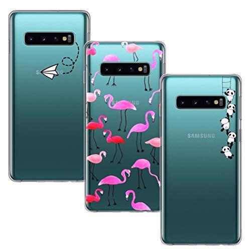 Yoowei [3-Pack] Cover per Samsung Galaxy S10 Plus Trasparente con Disegni, Morbida Silicone Ultra Sottile TPU Gel Antiurto AntiGraffio Custodia Protettiva Compatibile con Samsung S10 Plus / S10+