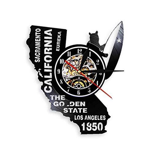 Suwfc Eureka The Golden State California State Home Wall Clock Sacramento Los Angeles Vinyl Record Wall Clock USA Travel Souvenir Gift