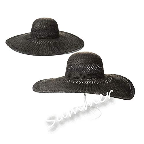 Big Brim Hat BBJXL Packung mit 2 Papyrus Caps Tourismus Sun Tan Sonnenschutz Sandstrandhut Sai Black Hand Woven Hollow Large Pores (Color : Black, Size : 56-58cm)
