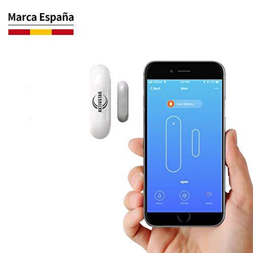 Aktivstar Alarma para Puerta Inteligente, Sensor Magnético Antirrobo de Control por APP y Conexión WiFI, Detector para Puertas y Ventanas Caja Cajón Compatible con Alexa Google Home IFTTT