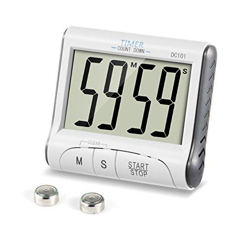 ZOETOUCH Keukentimer Digitale magnetische countdown and up timer stopwatch 24H elektronische timer met geluid alarm, extra groot display, sterke magneethouder en inschuifbare houder wit
