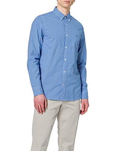 Tommy Hilfiger Slim Natural Soft Gingham Shirt Camisa, Azul Bio/Blanco, S para Hombre