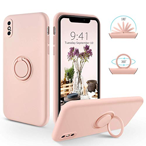 SouliGo iPhone XS Case, iPhone X Case Silicone Gel 360° Ring Holder Kickstand for Magnetic Car Mount Slim Fit Soft Rubber Anti-Scratch Protective Shockproof Phone Cases for iPhone XS/X 5.8' - Pink
