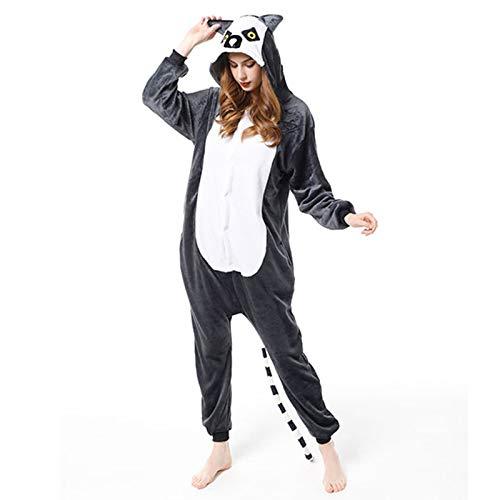 DONGBALA Unisex Animal Pijamas, Mujeres Animal Novedad Pijamas, Disfraz Niños Adultos Animales Pijamas Hombres Mujeres Niños Disturbes Onesie Hombres,Lemur 100