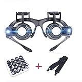 2.5X 4X 6X 8X 10X 15X 20X 25X LED Licht Stirnband Lupe, Lupenbrille LED Kopfband Lupen Stirnband Brille Lupen Verstellbare mit Linsen für das Lesen, Schmuck Lupe, Uhr, elektronische Reparatur