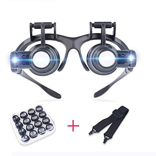 Lupa,2.5X 4X 6X 8X 10X 15X 20X 25X Gafas con Doble Ojo y Lupa con luz LED para relojero Joyero (montado en la Cabeza)