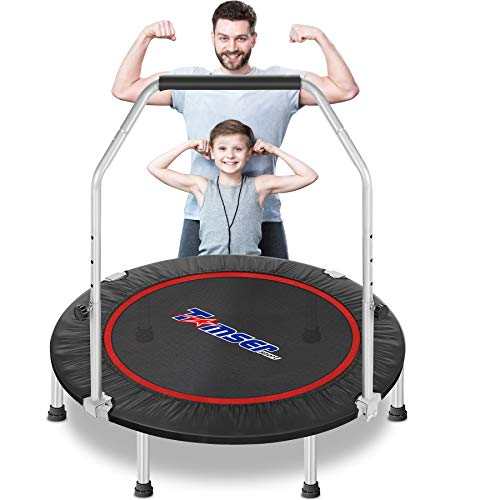 """tomser 43'' Silent Foldable Trampoline, Exercise Fitness Trampoline with Higher 50"""" Adjustable Handrail Fitness Rebounder with Carry Bag Mini Trampoline for Kids Adults Indoor/Garden Max Load 400lbs"""
