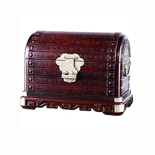 JISHIYU-Q Joyería caja de almacenamiento de joyas caja de almacenamiento Caja de almacenamiento antiguo rojo retro del palo de rosa creativo del regalo de cumpleaños caja de regalo, decoración del hog