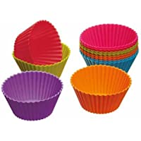 Colourworks Moldes de Silicona para Magdalenas, Multicolor, 6 cm, 12 Unidades