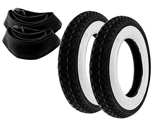 2EXTREME 2X Weißwand Reifen 3,50-10 Kenda + Schlauch Piaggio Vespa Rollerreifen Retro PX