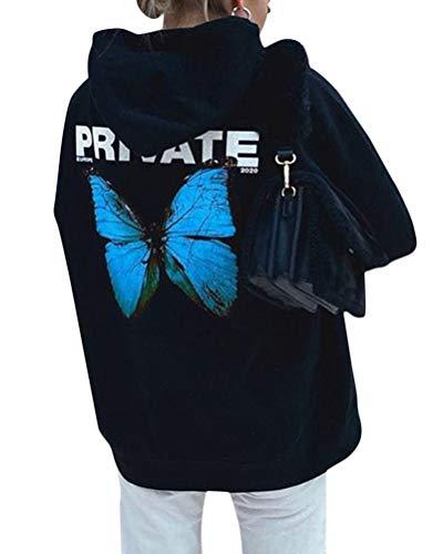 Tomwell Damen Trainingsanzug Set Loungewear Long Sleeve Butterfly Print Sweatshirt Hoodies mit Reißverschluss Hosen Damen Übergröße Jogging Sportanzug Oben und unten Sportbekleidung Outfit A Blau M