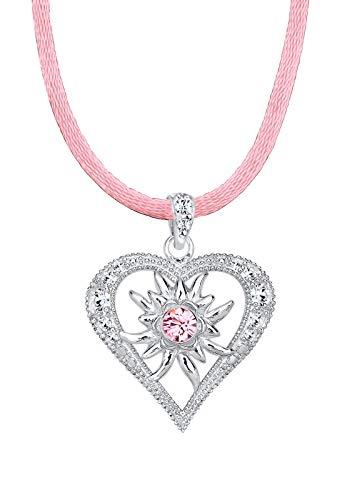 Elli Halskette Damen Herz Edelweiss mit Kristalle in 925 Sterling Silber