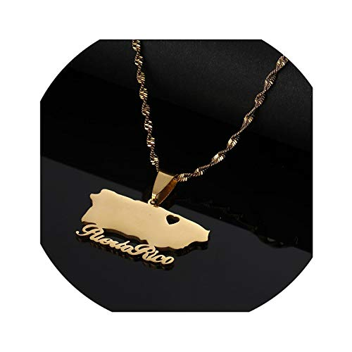 Sudran-baby Stainless Steel Puerto Rico Map Pendant Necklaces Trendy Puerto Ricans Heart Jewelry-Gold-Color-