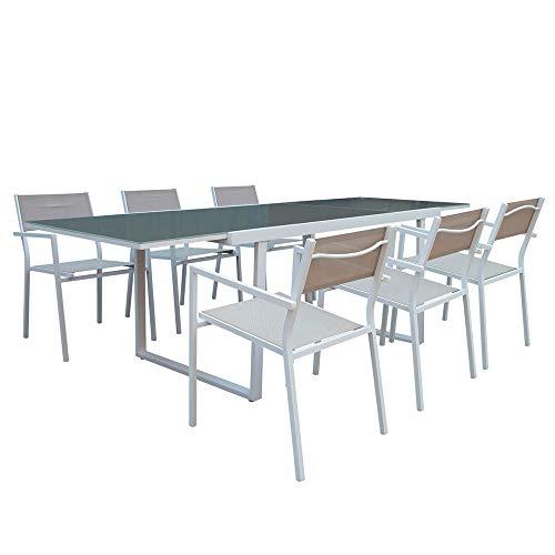 Conjunto de Mesa Extensible y 6 Sillas con Brazos Sicilia | GH91 | Mesa Rectangular de Cristal Templado y Sillas de Resina y Aluminio | Conjunto Jardín Exterior, Terraza o Interiores