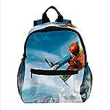 HANDIYA Kinderrucksäcke Schultasche für Kinder Ski Sonne cool 25.4x10x30 CM