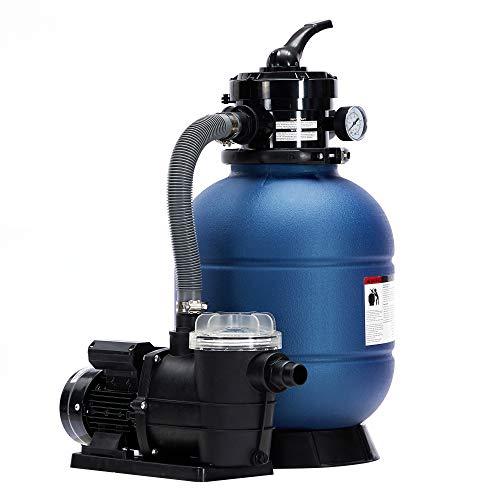 AREBOS Sandfilteranlage mit Pumpe | 400W | 10.200 L/h | Tankvolumen bis zu 20 kg Sand | 4 - Wege Ventil mit Griff | mit Druckmanometer | Blau