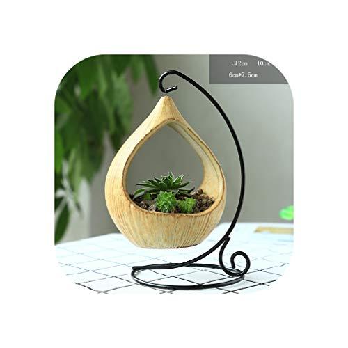 Hanging Wooden Air Plant Terrarium with Metal Stand 10cm Globe Rack Holder Round Aquarium Fish Flower Plant Vase,1