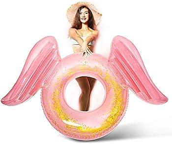JLCCKJJS Inflatable Pool Floats with Glitter Angel Wings Sparkle Float