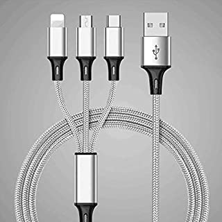 Multi USB Charger Cable, 3 in 1 Nylon Braided Multiple USB Fast Charging Cable Port Connectors Compatible with Cell Phones...