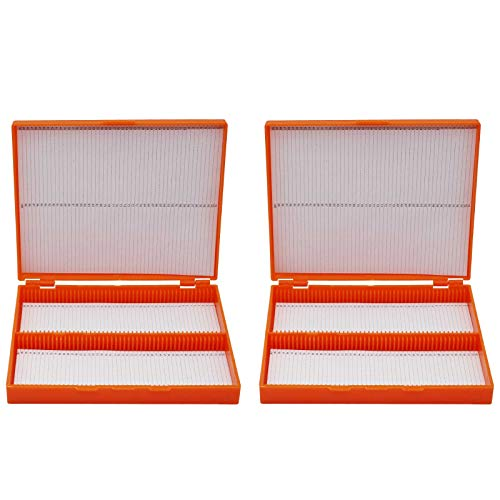 Microscope Slide Box, 100 Place Plastic Slide Storage Box 8.27