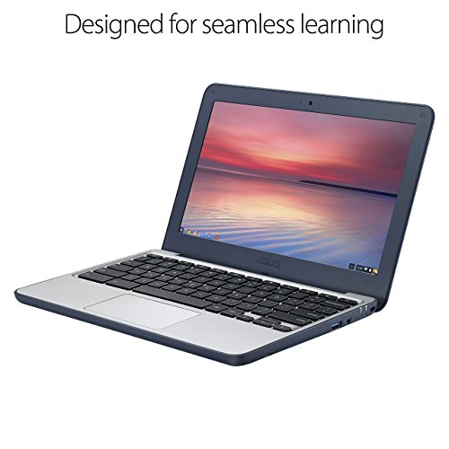 Product Image 1: ASUS Chromebook C202SA-YS04 11.6″ Ruggedized and Water Resistant Design with 180 Degree Hinge (Intel Celeron 4GB RAM, 32GB eMMC, Dark Blue) (Renewed)