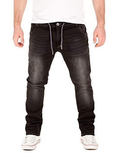 WOTEGA Herren Sweathose in Jeansoptik Slim-Fit Joshua, Schwarz (Phantom Black 4205), W29/L34