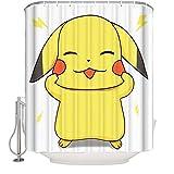 Ksainiy Pokemon Pikachu Cartoon Anime Duschvorhang Badezimmer Wasserdichtes Mildew Schlafzimmer Cartoon Dekorative Vorhang getrennt Duschvorhang Blackout Curtain (Größe : 120 * 180cm)