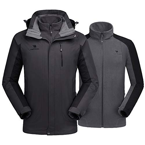 CAMEL CROWN Men's Winter Jacket 3-in-1 Winter Coats Ski Jacket Waterproof with Warm Fleece Inner and Windproof Hooded