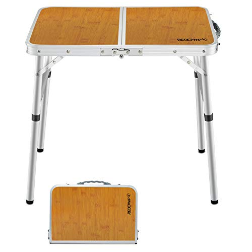 REDCAMP おりたたみ テーブルアウトドア 60cm/90cm/120cm ピクニックてーぶる2段 高さ調節な脚 アルミ コンパクト 軽量 携帯便利 キャップ用品 (60x40cm 2段)