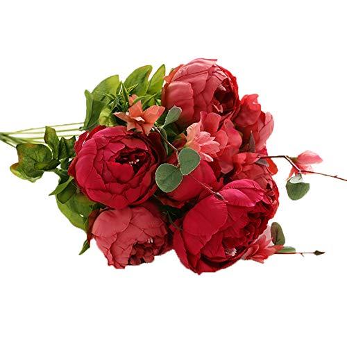TREESTAR Romantique Pivoine Artificielle Fleur Bundle Faux Plante 8 Fleurs pour Table Home Office Fête De Mariage Décoration Intérieur 47 CM