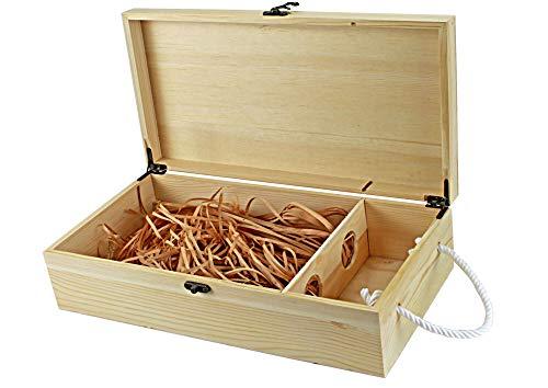 UTI GmbH Weinkiste RUSTIKAL mit Tragekordel und Deko-Wolle - für 2 Flaschen Wein - Flaschenkiste - Weinbox - Holzkiste - Geschenkbox